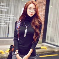 Wholesale fashion new women s long sleeve T shirt stand neck high collar women s tops shirts tees classic style brand new blouse