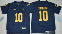 Wholesale Youth College Football Jerseys NCAA Kids Michigan Wolverines Tom Brady New Blue Stitched Football Free Drop Shipping holypote