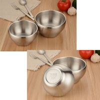 Wholesale 304 Stainless Steel Double Wall Vacuum Bowl for Children Kids Baby Food Containers Soup Rice Bowl