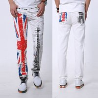 Wholesale White Skinny Jeans Men Fashion D Print Winter Warm UK Flag Painted Stretch Denim Jeans Men Slim Fit Jeans Pants Trousers