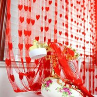 Wholesale Curtain New Arrival Romantic Peach Heart Line Curtain Wedding Love Curtains Living Room Partition Decorative Curtain Hanging