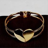 al por mayor joyería de la forma de la cara-Moda creativa en forma de corazón fregar brazalete helado corazón en forma de pulsera populares de doble cara regalos de cumpleaños joyas