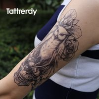 big dream catcher - pc body painting art owl dream catcher death skull feather big for women men arm leg waterproof flash dreamcatcher fake tattoo