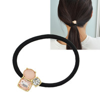 Wholesale Hair Accessories Black Elastic Rope Pink White Black Rhinestone Decoration Headband Headwear Hair Jewelry for Women