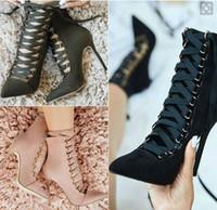 achat en gros de chaussures sexy en dentelle haut talon-2017 la mode a pointé la dentelle vers le haut des bottes sexy de talons hauts pour les femmes bule les chaussures noires de couleur de begie