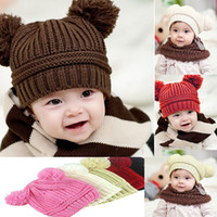 Wholesale Knitted Hat Baby Boys Girls Autumn Winter Warm Caps Unisex Children Dual Ball Wool knit Caps Kids Xmas Gift years Baby WX H68
