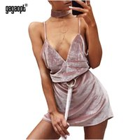 Wholesale Gagaopt Spring Summer Dress Velvet Strap With Belt Women Dresses V neck Autumn Dress Pink Sexy Party Dress Vestidos Robes