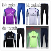 achat en gros de pantalon de football-Top THAI QUALITY 2016-17 Real Madrid KIDS BOYS Paris soccer suarez chandal survêtement de football costume d'entraînement pantalon skinny Vêtement de sport