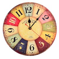 Wholesale Retro Inch Wall Clock Vintage Colorful European Style Arabic Numerals Design Silent Wooden Wall Clock