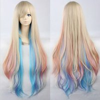 Wholesale 39 quot cm Anime Vocaloid Mayu Cosplay Wig Rainbow Long Curly Wigs Heat Resistant Party Costume Hair