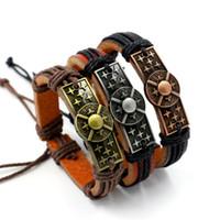 Wholesale Hand woven Leather Bracelets Non mainstream Punk Bangle Male Wristband Female Personality Bracelet Sudent Couple Fashion Jewelry color