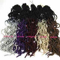 Dreadlocks ondulados Extensiones de pelo de ganchillo sintético 2Tone Ombre Faux Locs Trenzar el pelo La Habana Mambo Kanekalon Trenzas Tejido de pelo