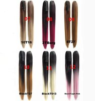 Wholesale 60cm Long Straight Colorful Ombre Claw Jaw Pony tail Clip In Synthetic Ponytail Hair Extensions Hair Piece Colors