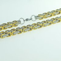 american male models - 304 stainless steel chain of foreign trade jewelry U shaped interlocked necklace male models of steel and gold hip hop style lobst
