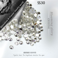 Wholesale New SS30 mm Crystal Clear pack foild D Nail Art glue on non hotfix flatback rhinestones