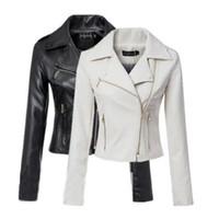 Precio de Leather jackets-Las chaquetas de cuero impermeables delgadas de la motocicleta de las mujeres impermeables de la chaqueta de la manera europea y americana al por mayor más el tamaño S-XL liberan el envío