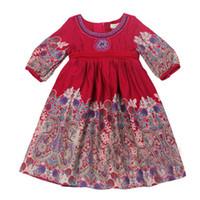 Wholesale 2 Y monsoon girls dress lantern cuffs print mid sleeve double layer dress kids clothing cotton toddler girl dresses disfrace