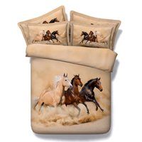 achat en gros de reine édredon brun-New Arrival Three Running Horses Impression Marron Couette 4-Couches Housse Couette 100% Coton 3D Cheval Comforter Literie Sets Twin Reine roi