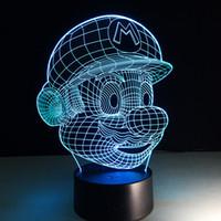 Рождественские украшения свет Super Mario 3D оптически Night Light 7 цветов переменчивый USB LED 3D сенсорный Night Light Акриловые панели СИД