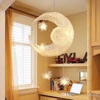 Wholesale Modern LED Moon Star Children Kid Child Bedroom Pendant Lamp Chandelier Ceiling Light Aluminum Pendant Light with G4 Led Bulbs