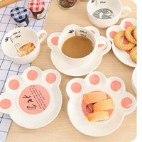 Wholesale 150ml Cute cat cartoon Mug Set creative catlike milk breakfast cup ceramic cups and plates Coffee mug cup home decor WA1479
