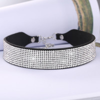 Wholesale High End Fancy Women Fashion Punk Wide Collar Necklace Jewelry Multi Row Rhinestone Choker for Party
