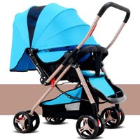 Wholesale Baby stroller Ultra light You can sit or lie Folding shock bidirectional Baby wheelbarrow baby carriageFive point safety belts EU standards