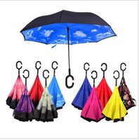 Wholesale Windproof Double Layer Folding Inverted Inside out reverse Umbrella Long Handle Umbrella Sunshade C Shaped Handle Proof Ultraviolet