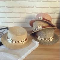 Wholesale 2017 Fashion Sun Hat Colors Women Summer Beach Floppy Stingy Brim Hat Flower Belt Beach Caps