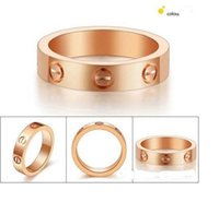 Wholesale Fashion style Screw print forever love titanium steel Ring for men and women K Gold silver Plated