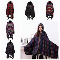 Wholesale Women Plaid Poncho Blanket Cloak Fashion Cape Shawl Winter Pashmina Blankets Scarf Poncho Cashmere Wrap Hooded Jacket Coat PPA789