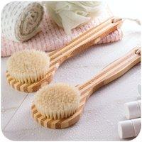 bamboo scrubs - Short handle bamboo bath brush massage brush scrub brush Chopping