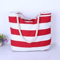 Wholesale 2017 Hot Women Ladies Stripes Canvas Shoulder Messenger Bag Summer Beach Summer Beach Handbag Bags