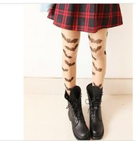 animal print tattoos for women - Gothic lolita tights HARAJUKU style japanese pantyhose Vintage sexy halloween thin pantyhose bat tattoo tights for girls