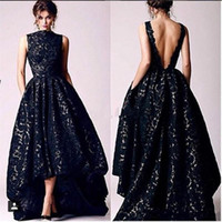 Wholesale 2017 Arabic High Low Black Lace Sequined Prom Party Dresses Vintage High Neck Sexy Backless Formal Occasion Evening Gowns