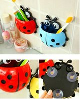 bath wall hooks - Super Lovely Ladybug Toothbrush Wall Suction Bathroom Sets Cartoon Sucker Toothbrush Holder With Suction Hooks Bath