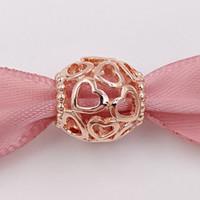 Día de San Valentín 925 cuentas de plata de color rosa de plata Abra su corazón encanto se adapte a Europa Pandora estilo pulseras de joyería 780964 Gold Plated