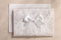 Wholesale Cheap Elegant Ivory Wedding Invitations Cards With Bow Envelope Customized D Embossed Laser Cut Wedding Accessories