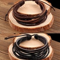 Wholesale 100 hand woven Fashion Jewelry Wrap multilayer Leather Braided Rope Wristband men bracelets bangles for women