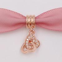 Día de San Valentín 925 cuentas de plata Corazón Rose cuelgan se adapta a Europea Pandora Estilo Joyería Pulseras Collar 781242CZ Rose Oro chapado