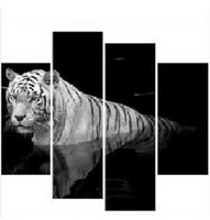 Wholesale 4pcs set Frameless HD Print Animal Oil Painting White Tiger Giclee Wall Art Picture For Home Decor