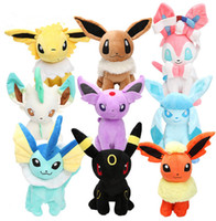 Wholesale Poke Plush toys Pikachu dolls Jolteon Umbreon Flareon Eevee Espeon Vaporeon stuffed plush doll Toy about cm KKA1401
