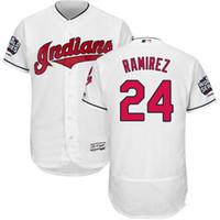 Wholesale Men s Majestic Cleveland Indians Manny Ramirez World Series Bound Flexbase Authentic Collection Stitched Jersey With Black White Grey
