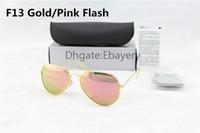 Wholesale High Quality Men Women Designer Pilot Sunglasses Sun Glasses Gold Flash Pink Mirror Glass Lenses mm mm UV400 Protection Boxes Case