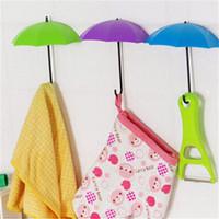 Wholesale 3pcs Creative Free Nail Storage Hook Umbrella Shaped Single Wall Hooks Small Decorative Home Decor
