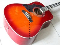 Wholesale New Factory Left Handed Custom Cherry Burst Acoustic Guitar New Arrival OEM Musical instruments
