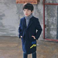 Wholesale Mimini Wool Coat Suit Korean Style Fashion Cute Baby Unisex Casual Letter Dark Blue Long Style
