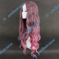 anime cosplay pink wig - Synthetic Hair Wigs cm mixed Flaxen pink long wavy wig Anime cosplay wig a wig cap