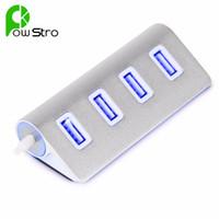 aluminum usb flash drive - Powstro Aluminum USB Port HUB with Blue Indication Light for USB Flash Drives Keyboard Mouse PC Laptop Etc