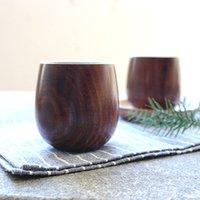 Wholesale Wooden Teacup Korea Japan Style Wine Glass Caliber cm Height cm Camphor Wood Cups Tea Service MOQ Piece
